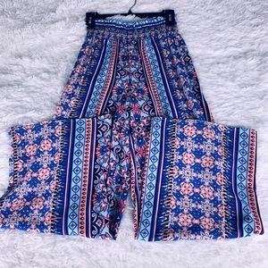 Hype BW/Pink/Blue Palazzo Relaxed Pants(NWOT)-Sz S
